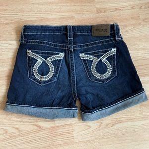 Big Star Cuffed Dark Wash Denim Shorts